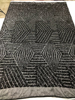 "Geometric 2 Way Stretch Sequins Fabric - Black Geometric Diamond Design 2 Way Stretch Mesh 52-58"" Wide By The Yard"