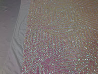 "Geometric 4 Way Stretch Sequins Fabric - Iridescent Pink Geometric Diamond Design 4 Way Stretch White Mesh 52"" Wide By The Yard"