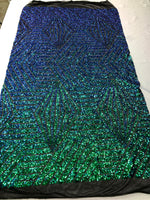 "Geometric 4 Way Stretch Sequins Fabric - Iridescent Green Geometric Diamond Design 4 Way Stretch White Mesh 52"" Wide By The Yard"