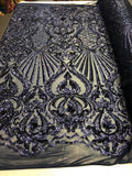 Navy Royalty 4 Way Stretch Fabric - Sequins Fabric Embroidered Power Mesh Dress Top Fashion Prom Wedding Bridal By The Yard