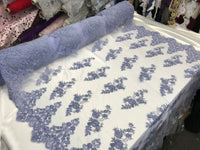 Shop Beaded Mesh Lace Fabric Dk Lavender Lace By The Yard Embroidered Lace With Beads And Sequins French Bridal Veil