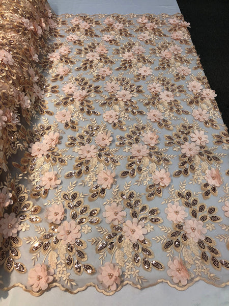 Shop Lace Fabric Bridal Wedding Lace Fabric Eyelash Sequins Blush Peach Hand Embroidered Flower 3D Pearls With Sequins For Dress Top Decoration By The Yard