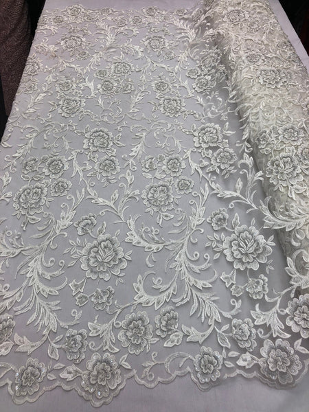 Shop Lace Fabric Beaded Floral IVORY - Luxury Wedding Bridal Veil Hand Embroidery Lace Sequins/Beads For Mesh Dress Top Wedding Decoration By The Yard