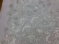 Shop Lace Fabric Beaded Floral WHITE - Luxury Wedding Bridal Veil Hand Embroidery Lace Sequins/Beads For Mesh Dress Top Wedding Decoration By The Yard
