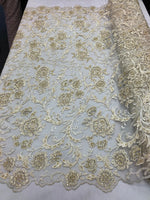 Shop Lace Fabric Beaded Floral IVORY/CREAM - Luxury Wedding Bridal Veil Hand Embroidery Lace Sequins/Beads For Mesh Dress Top Wedding Decoration By The Yard