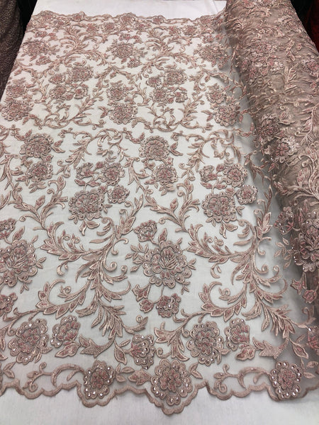 Shop Lace Fabric Beaded Floral BLUSH - Luxury Wedding Bridal Veil Hand Embroidery Lace Sequins/Beads For Mesh Dress Top Wedding Decoration By The Yard