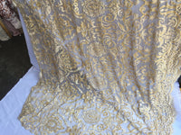 Gold Design Embroider Beaded Mesh Dress Wedding Decoration Bridal Veil Nightgown By Yard night gowns Skirts prom dresses wedding dresses