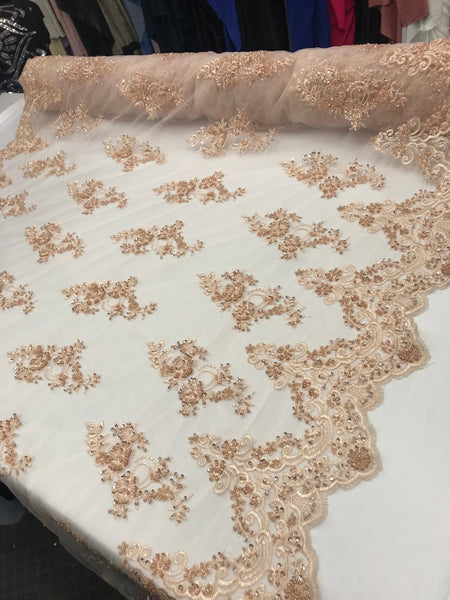 Shop Beaded Mesh Lace Fabric Blush Lace By The Yard Embroidered Lace With Beads And Sequins French Bridal Veil