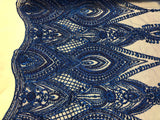 Shop Lace Fabric Designs ROYAL BLUE Heavy Beaded Fabric Embroidered Beads With Sequins Mesh Lace For Bridal Veil/Wedding/Prom/Dress/Decorations By The Yard