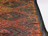Iridescent Orange Sequins On A Mesh 4 Way Stretch (Black Mesh) For Dress Top Fashion Prom Fabric Night Gown Clothing By The Yard