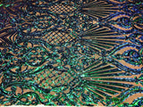 Iridescent Green Sequins On A Mesh 4 Way Stretch (Black Mesh) For Dress Top Fashion Prom Fabric Night Gown Clothing By The Yard - Supreme Acoustics