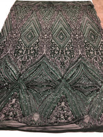 Hunter Green 4 Way Stretch Fabric - Embroidery Sequins On A Power Mesh Lace-Fashion-Dress-Prom-Gown Bridal Wedding Decor By The Yard