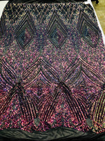 Iridescent Rainbow Sequins On A Mesh 4 Way Stretch (Black Mesh) For Dress Top Fashion Prom Fabric Night Gown Clothing By The Yard