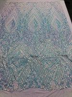 Iridescent Clear Sequins On A Mesh 4 Way Stretch (White Mesh) For Dress Top Fashion Prom Fabric Night Gown Clothing By The Yard
