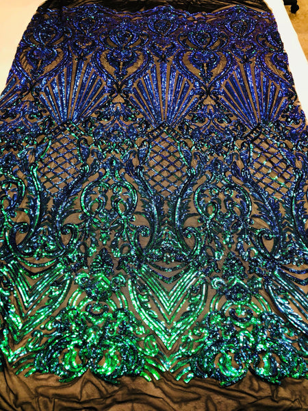 Iridescent Green Sequins On A Mesh 4 Way Stretch (Black Mesh) For Dress Top Fashion Prom Fabric Night Gown Clothing By The Yard