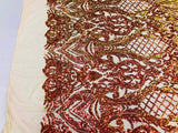 Iridescent Orange Sequins On A Mesh 4 Way Stretch (Nude Mesh) For Dress Top Fashion Prom Fabric Night Gown Clothing By The Yard