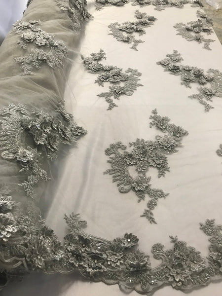 Shop Lace Fabric Silver 3D Floral/Flower Design Embroider With Diamonds And Hand Beaded With On A Mesh Lace-Dresses-Bridal Accessories-Nightgown By The Yard