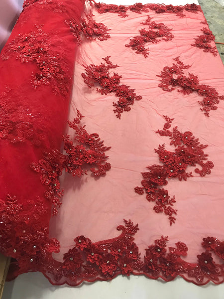 Shop Lace Fabric Red 3D Floral/Flower Design Embroider With Diamonds And Hand Beaded With On A Mesh Lace-Dresses-Bridal Accessories-Nightgown By The Yard