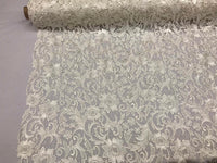 Guipure Lace Fabric Ivory By The Yard Embroidered Bridal Veil Lace Guipure Wedding Dress-Gupure-Prom-Gown Guipure Decoration