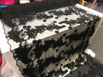 Black Design Beaded Mesh Lace Fabric Bridal Wedding . Sold By Yard clothing, jackets, dresses,skirts, applications, table covers,runner