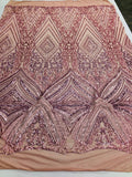 Dusty Rose 4 Way Stretch Fabric - Embroidery Sequins On A Power Mesh Lace-Fashion-Dress-Prom-Gown Bridal Wedding Decor By The Yard