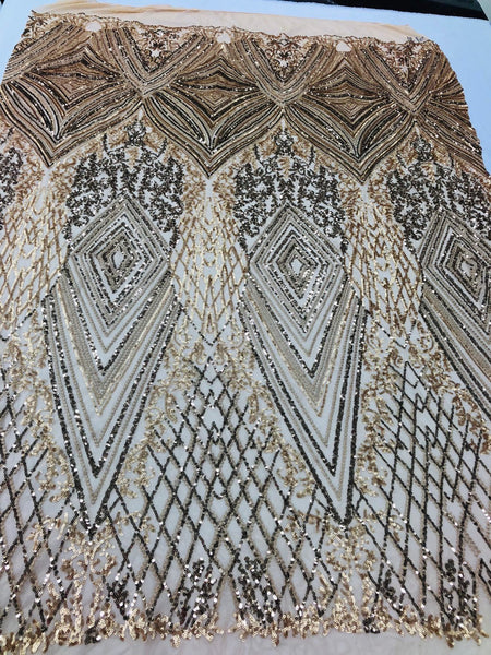 Gold 4 Way Stretch Fabric - Embroidery Sequins On Power Mesh Lace-Fashion-Dress-Prom-Gown Bridal Wedding Decor By The Yard