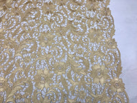 Guipure Lace Fabric Gold By The Yard Embroidered Bridal Veil Lace Guipure Wedding Dress-Gupure-Prom-Gown Guipure Decoration - Supreme Acoustics