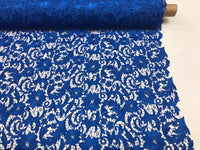 Guipure Lace Fabric Royal Blue By The Yard Embroidered Bridal Veil Lace Guipure Wedding Dress-Gupure-Prom-Gown Guipure Decoration