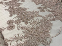 Pale pink Design Beaded Mesh Lace Fabric Bridal Wedding . Sold By Yard clothing, jackets, dresses,skirts, applications, table covers,runner - Supreme Acoustics