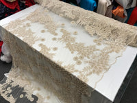 Cream Design Beaded Mesh Lace Fabric Bridal Wedding . Sold By Yard clothing, jackets, dresses,skirts, applications, table covers,runner