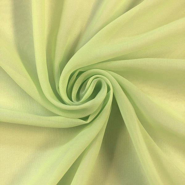 Lime Chiffon Fabric Polyester Sheer 58'' Wide By the Yard for Garments, Decoration, Crafts special occasions, bridesmaid dresses and more.