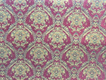 Chenille upholstery Drapery Damask Ruby Gold Print furniture fabric sold BTY
