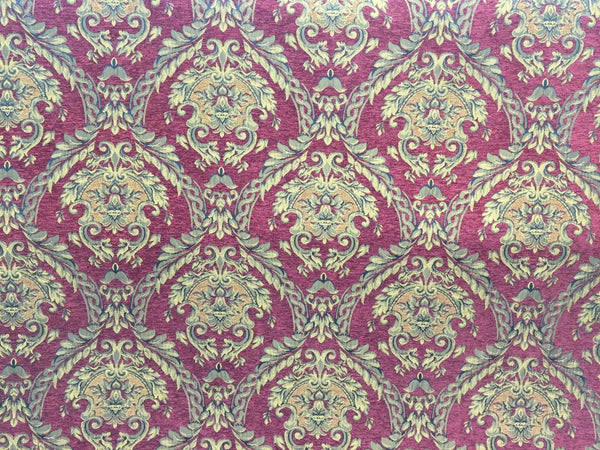 Chenille upholstery Drapery Damask Ruby Gold Print furniture fabric sold BTY - Supreme Acoustics