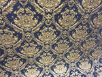 Chenille upholstery Drapery Damask Black Gold Print furniture fabric sold BTY - Supreme Acoustics