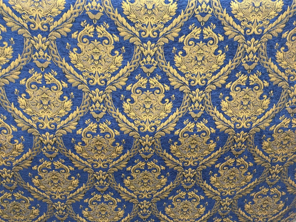 Chenille upholstery Drapery Damask Royal Gold Print furniture fabric sold BTY - Supreme Acoustics