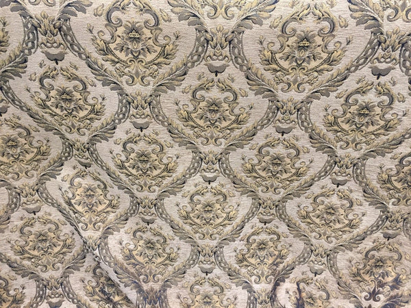 Chenille upholstery Drapery Damask Taupe Gold Print furniture fabric sold BTY - Supreme Acoustics