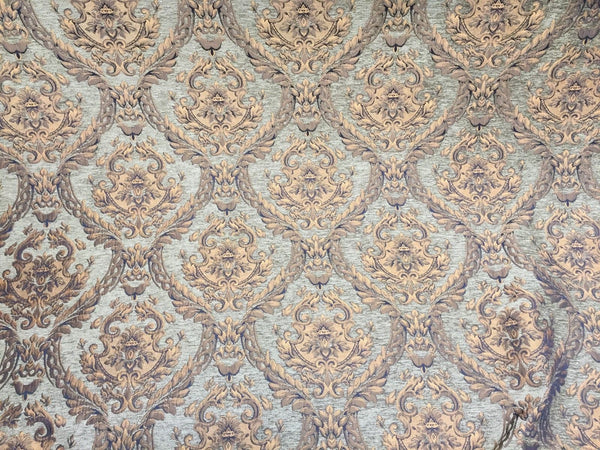Chenille Upholstery Drapery Damask Sage Gold Print Furniture Fabric