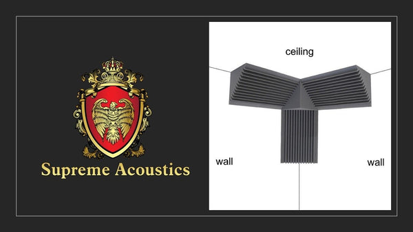Supreme Acoustics Professional Acoustic Foam Soundproof Bass Trap Corner Kit.