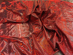 Snake Skin Print Design Tail Scale Sparkle Hologram Nylon Spandex Red By Yard - Supreme Acoustics