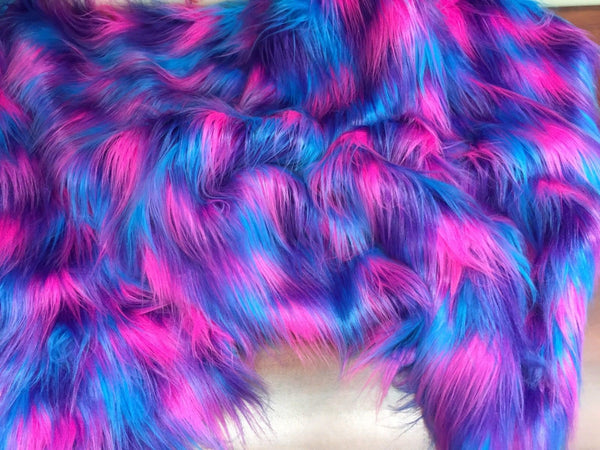 "FAUX FAKE FUR 3 TONE RAINBOW LONG PILE FABRIC 60"" WIDTH SOLD BY YARD TURQUOISE - Supreme Acoustics"