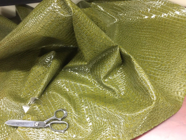 PRO SHINY ALLIGATOR EMBOSSED FAUX LEATHER UPHOLSTERY VINYL FABRIC BY YARD GREEN
