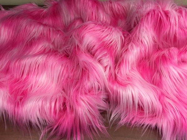 "FAUX FAKE FUR 3 TONE RAINBOW LONG PILE FABRIC 60"" WIDTH SOLD BY THE YARD PINK - Supreme Acoustics"