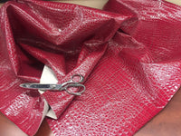 SHINY ALLIGATOR EMBOSSED FAUX LEATHER UPHOLSTERY VINYL FABRIC BY YARD FUCHSIA