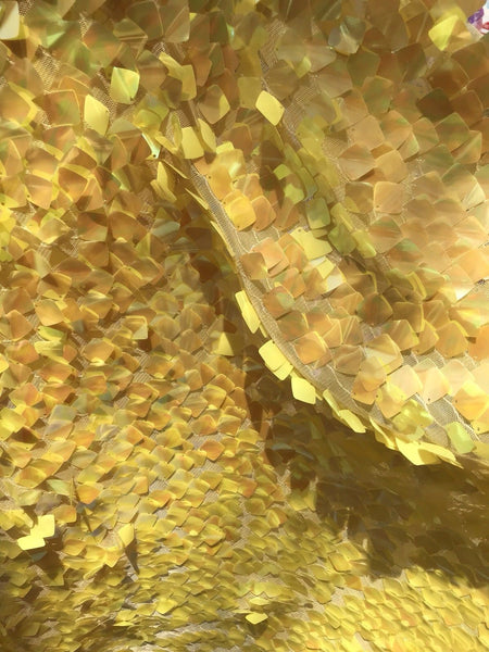 YELLOW IRIDESCENT SEQUINS-DRAGON SCALES EMBROIDER ON A MESH-SOLD BY THE YARD.