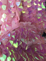 PINK IRIDESCENT SEQUINS-DRAGON SCALES EMBROIDER ON A MESH-SOLD BY THE YARD.