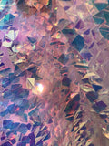 CLEAR IRIDESCENT SEQUINS-DRAGON SCALES EMBROIDER ON A MESH-SOLD BY THE YARD
