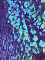 Lavender Iridescent Sequins Dragon Scales Embroider on Mesh Sold by the Yard