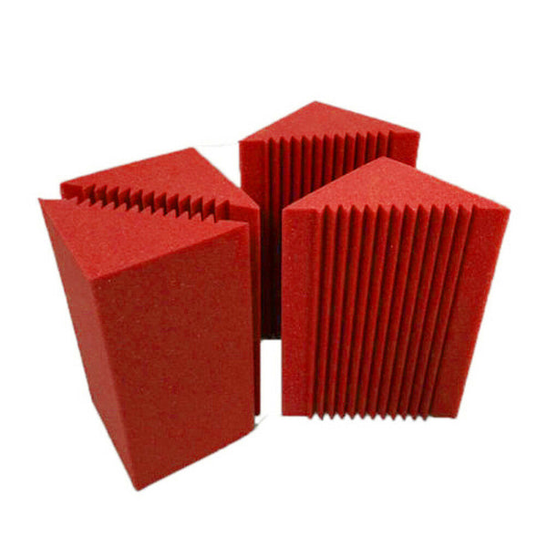 "Red 8 Corner Bass Trap/Absorber - 12"" x 12"" x 24"" Acoustic Sound Foam Kit - SoundProofing and Deadening - Made In The USA!"