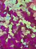 FUCHSIA IRIDESCENT SEQUINS-DRAGON SCALES EMBROIDER ON A MESH-SOLD BY THE YARD.