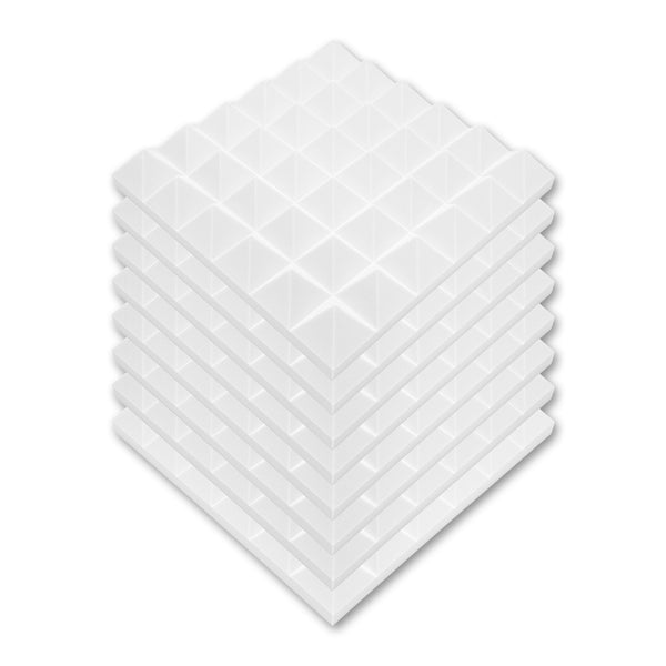 "24 Pack - White Acoustic Foam Sound Absorption Pyramid Studio Treatment Wall Panels, 2"" X 12"" X 12"" - Supreme Acoustics"